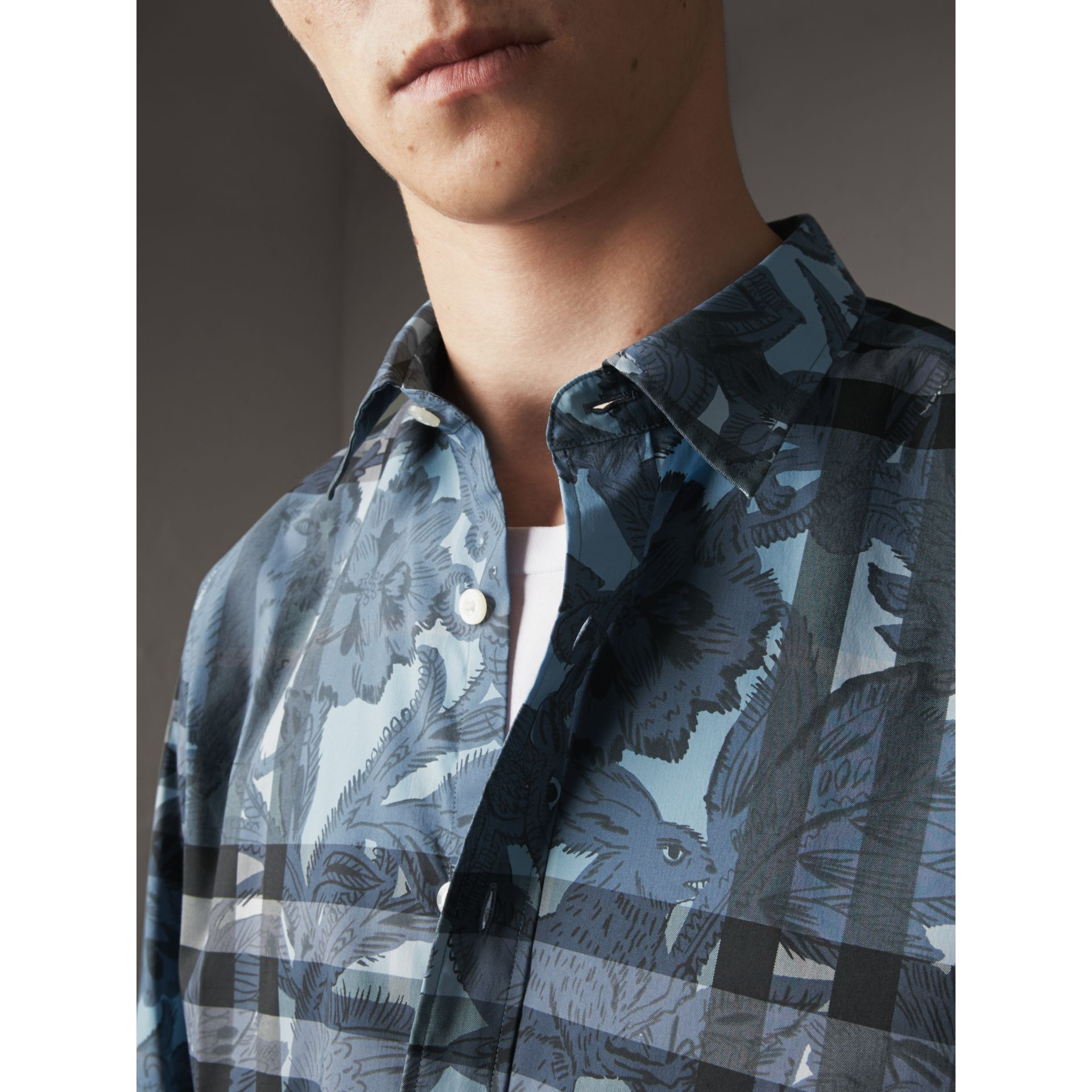 Beasts Print and Check Stretch Cotton Blend Shirt in Stone Blue - Men | Burberry - gallery image 2