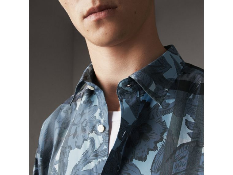 Beasts Print and Check Stretch Cotton Blend Shirt in Stone Blue - Men | Burberry - cell image 1