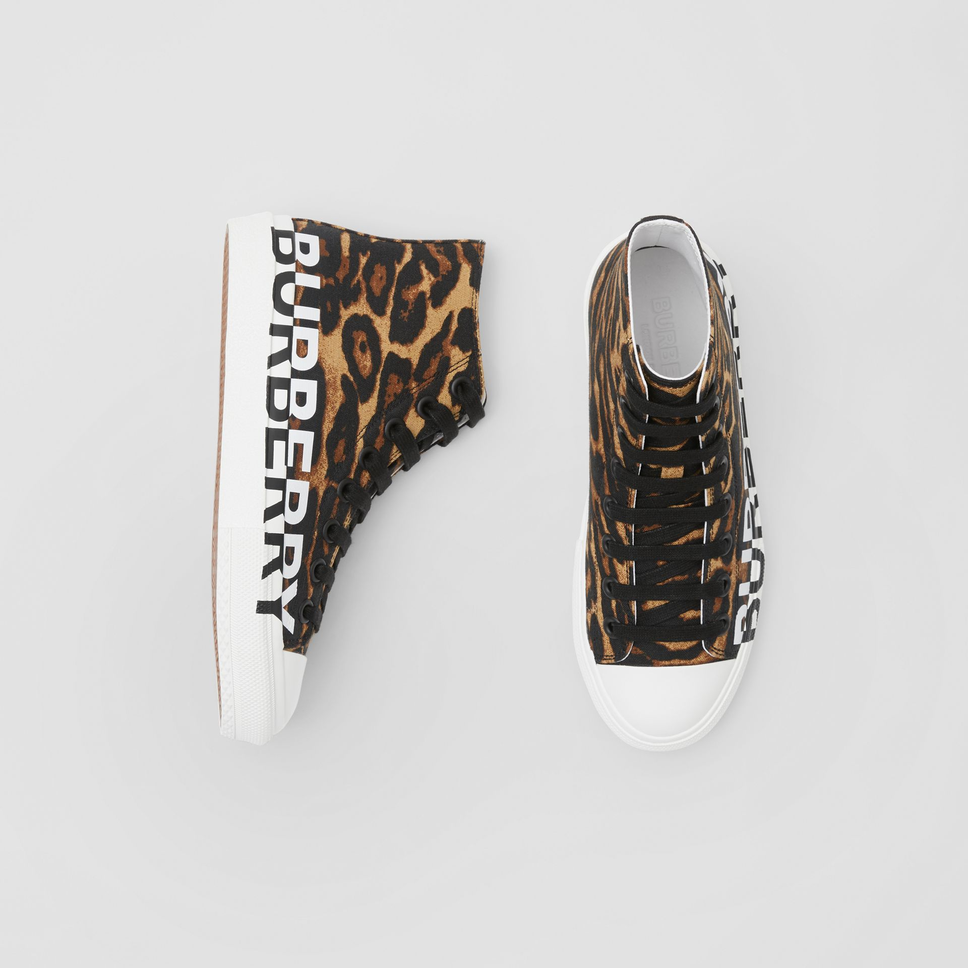 Logo Detail Leopard Print High-top Sneakers in Brown - Women | Burberry - gallery image 0
