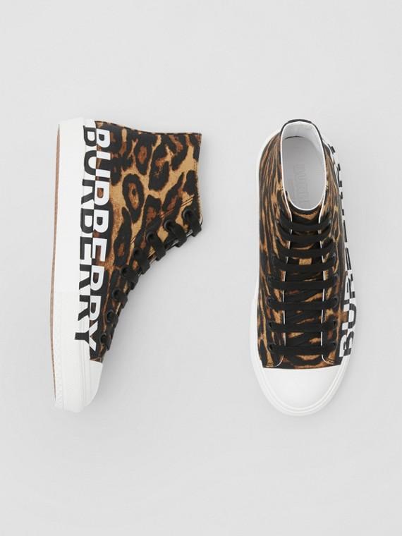 Logo Detail Leopard Print High-top Sneakers in Brown