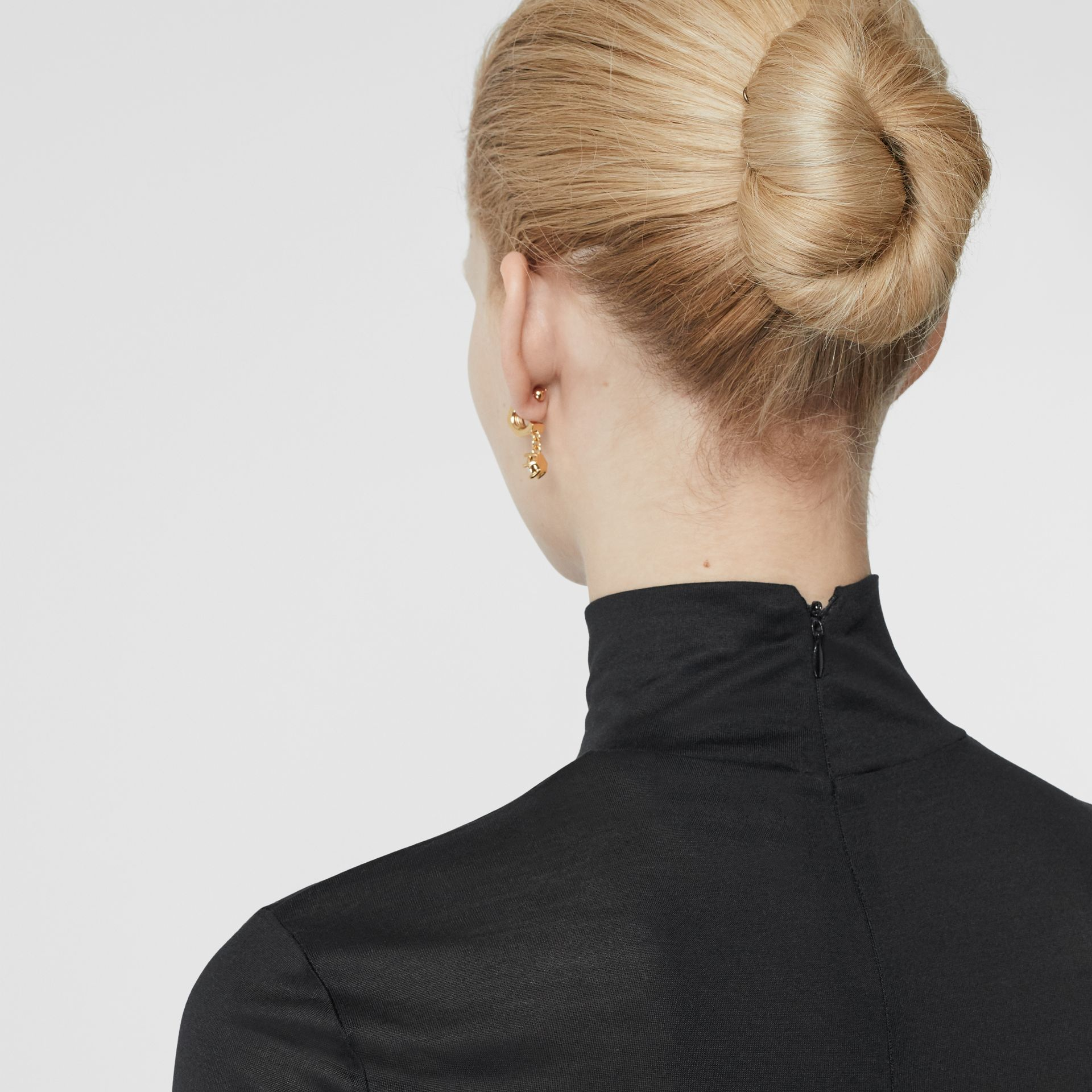Silk Jersey Turtleneck Top in Black - Women | Burberry - gallery image 1
