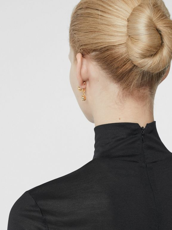 Silk Jersey Turtleneck Top in Black - Women | Burberry Australia - cell image 1