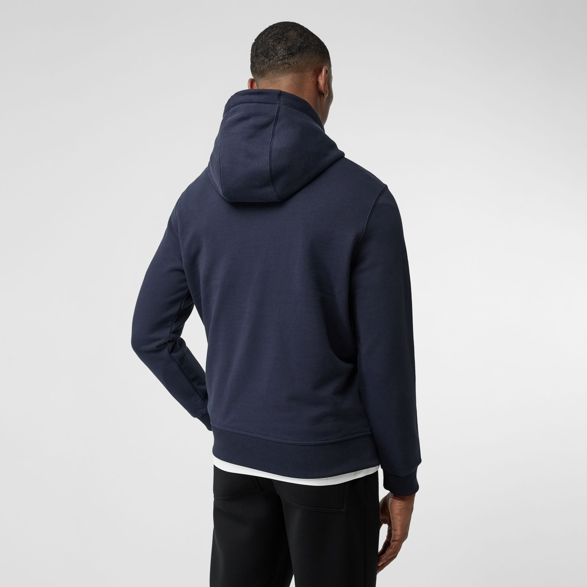 Logo Appliqué Cotton Hoodie in Navy - Men | Burberry - gallery image 2
