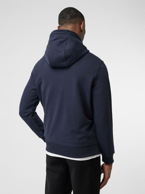 Logo Appliqué Cotton Hoodie in Navy - Men | Burberry - cell image 2