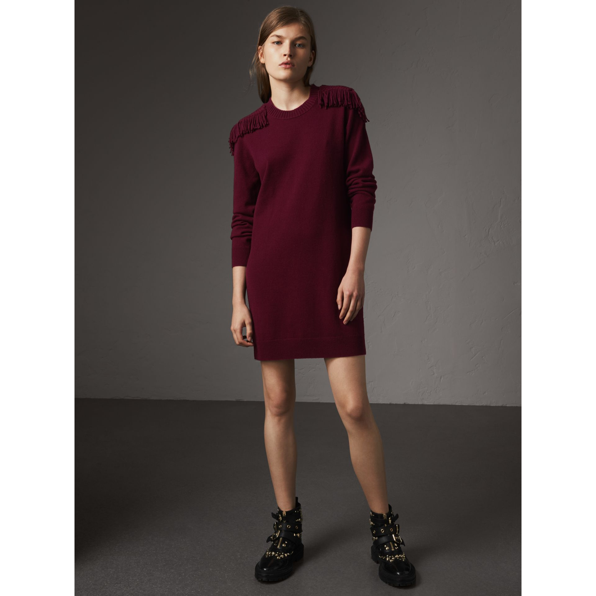 Epaulette Detail Wool Cashmere Dress in Burgundy - Women | Burberry - gallery image 5