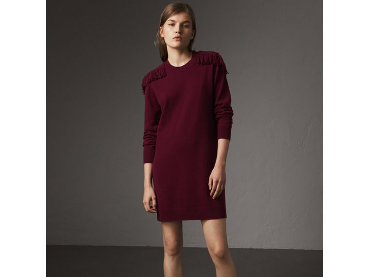 Epaulette Detail Wool Cashmere Dress in Burgundy - Women | Burberry - cell image 4
