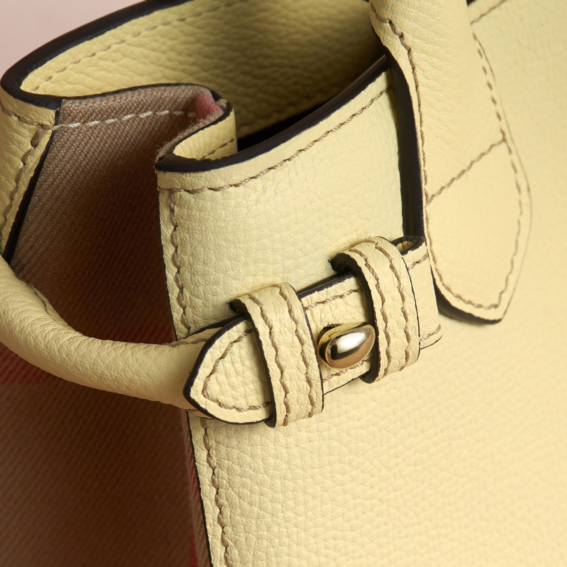 The Baby Banner in Leather and House Check in Camomile Yellow - Women | Burberry Canada - gallery image 6