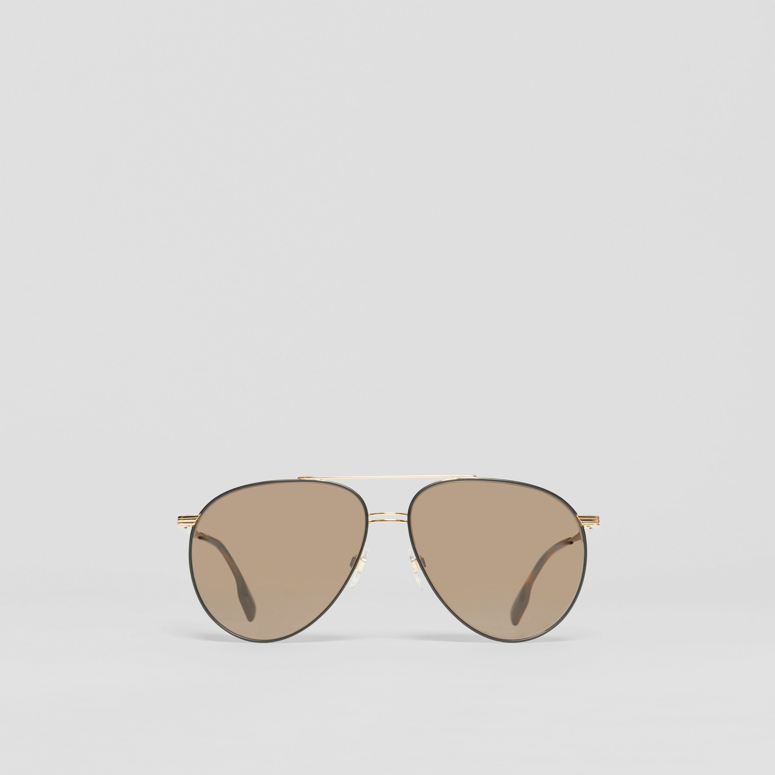 Top Bar Detail Pilot Sunglasses in Gold - Men | Burberry - 1