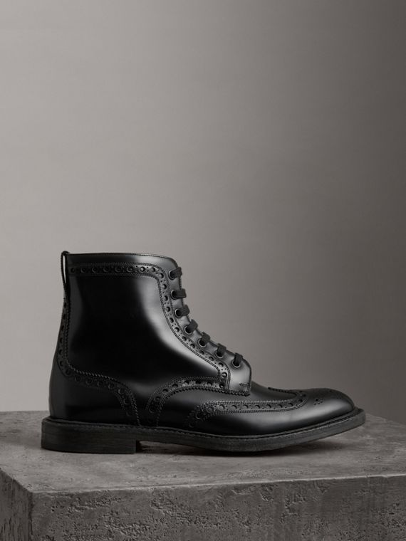 Brogue Detail Polished Leather Boots in Black