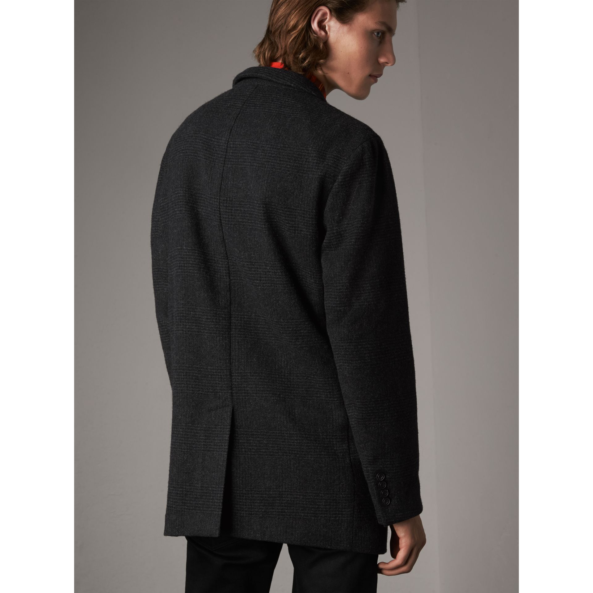 Prince of Wales Wool Blend Double-breasted Jacket in Charcoal Melange - Men | Burberry Australia - gallery image 2