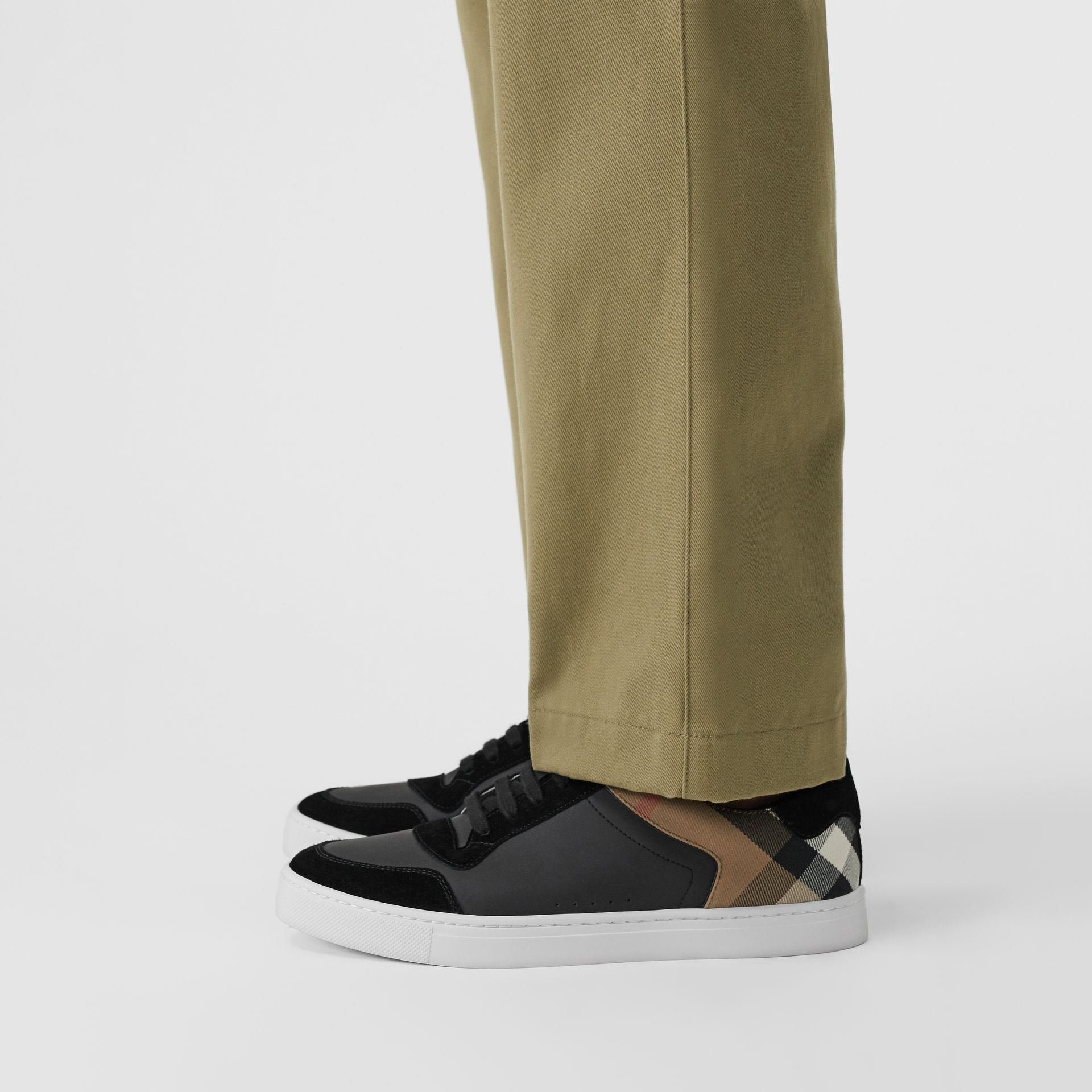 Leather and House Check Sneakers in Black - Men | Burberry United States - gallery image 2