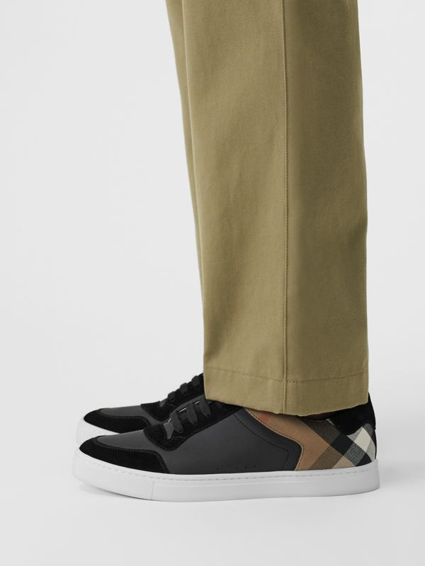 Leather and House Check Sneakers in Black - Men | Burberry Hong Kong S.A.R - cell image 2