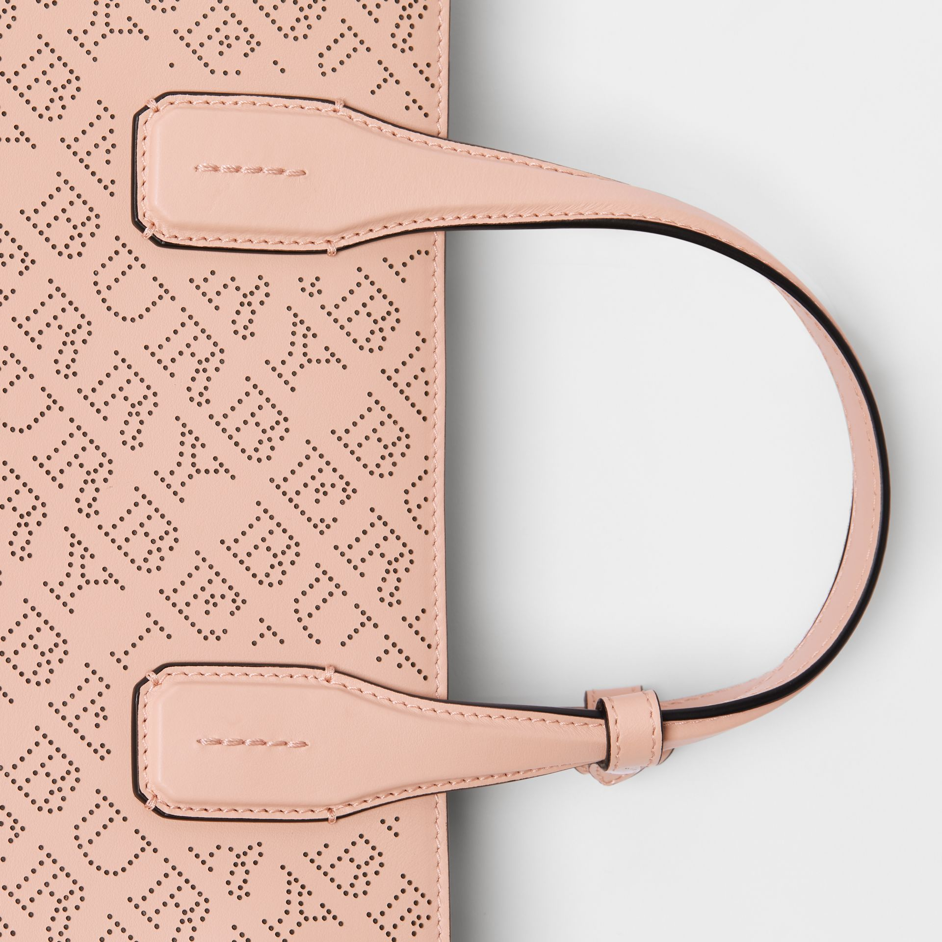 The Medium Banner in Perforated Logo Leather in Pale Fawn Pink - Women | Burberry - gallery image 1