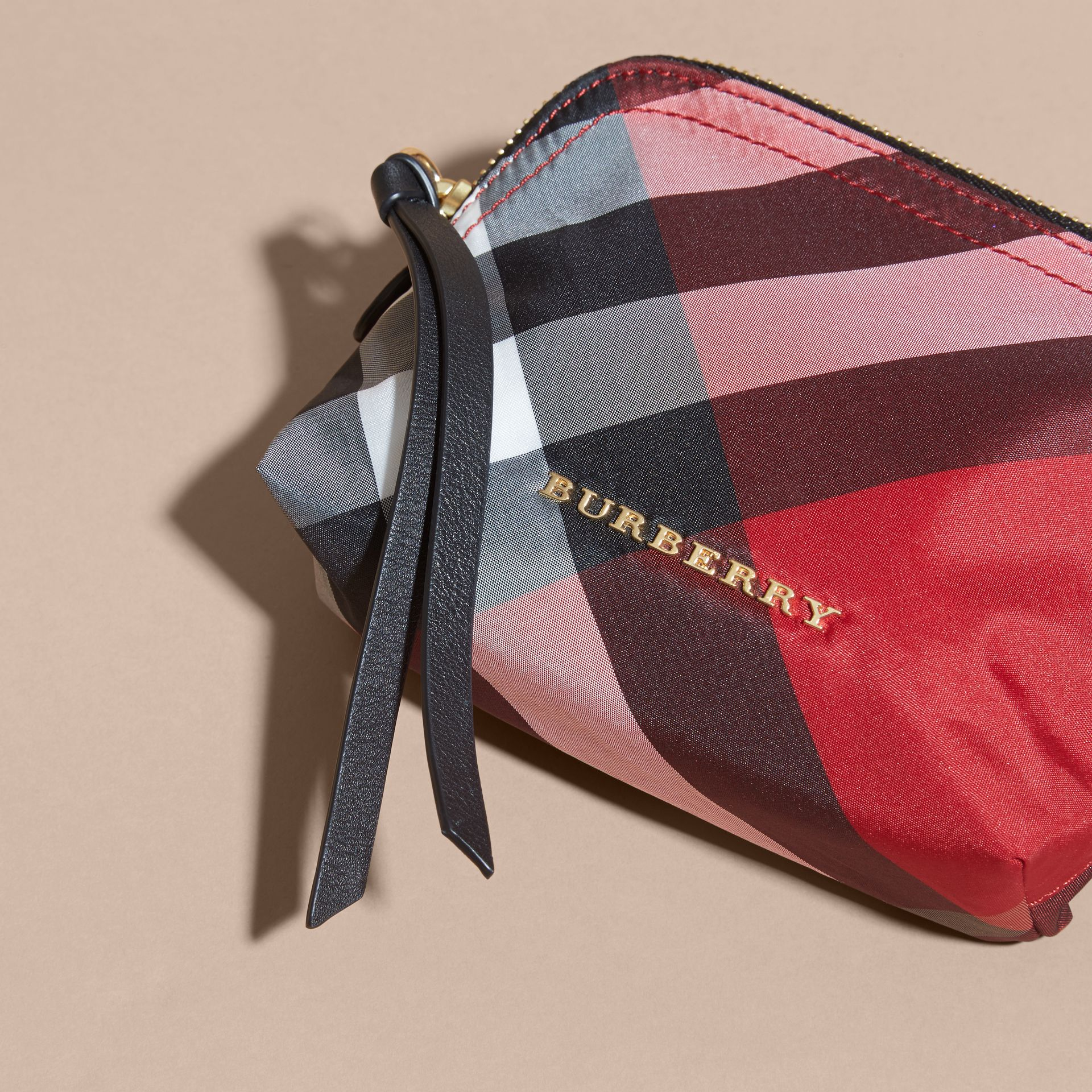 Small Zip-top Check Pouch in Parade Red - Women | Burberry - gallery image 2