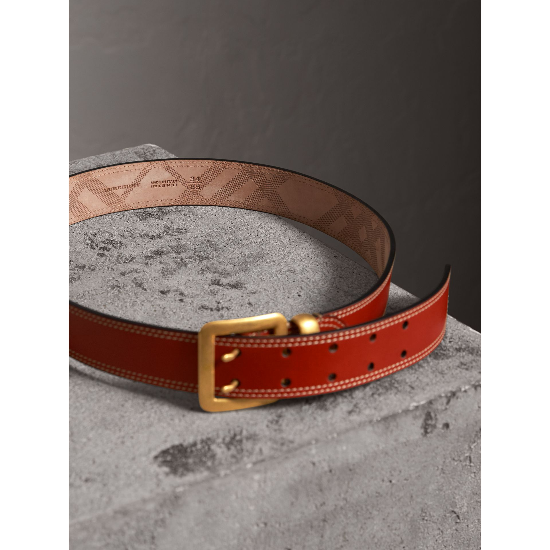 Topstitch Detail Leather Belt in Burnt Sienna - Women | Burberry - gallery image 3