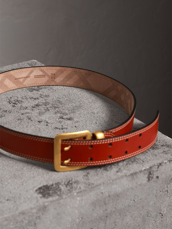 Topstitch Detail Leather Belt in Burnt Sienna - Women | Burberry - cell image 3