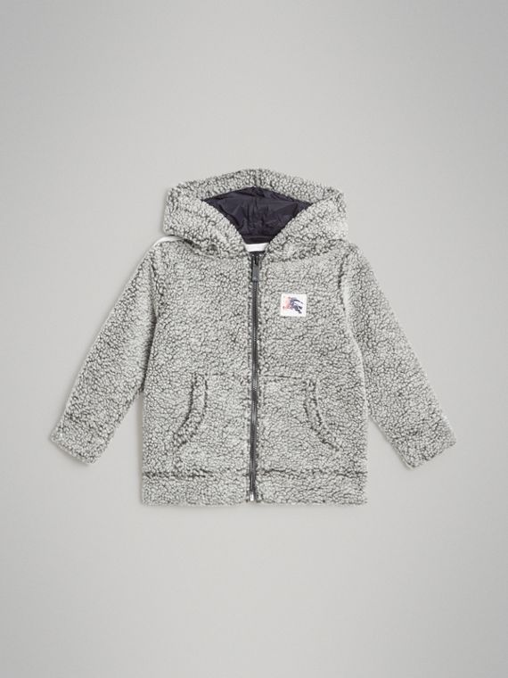 Faux Shearling Zip-front Hooded Top in Grey Melange