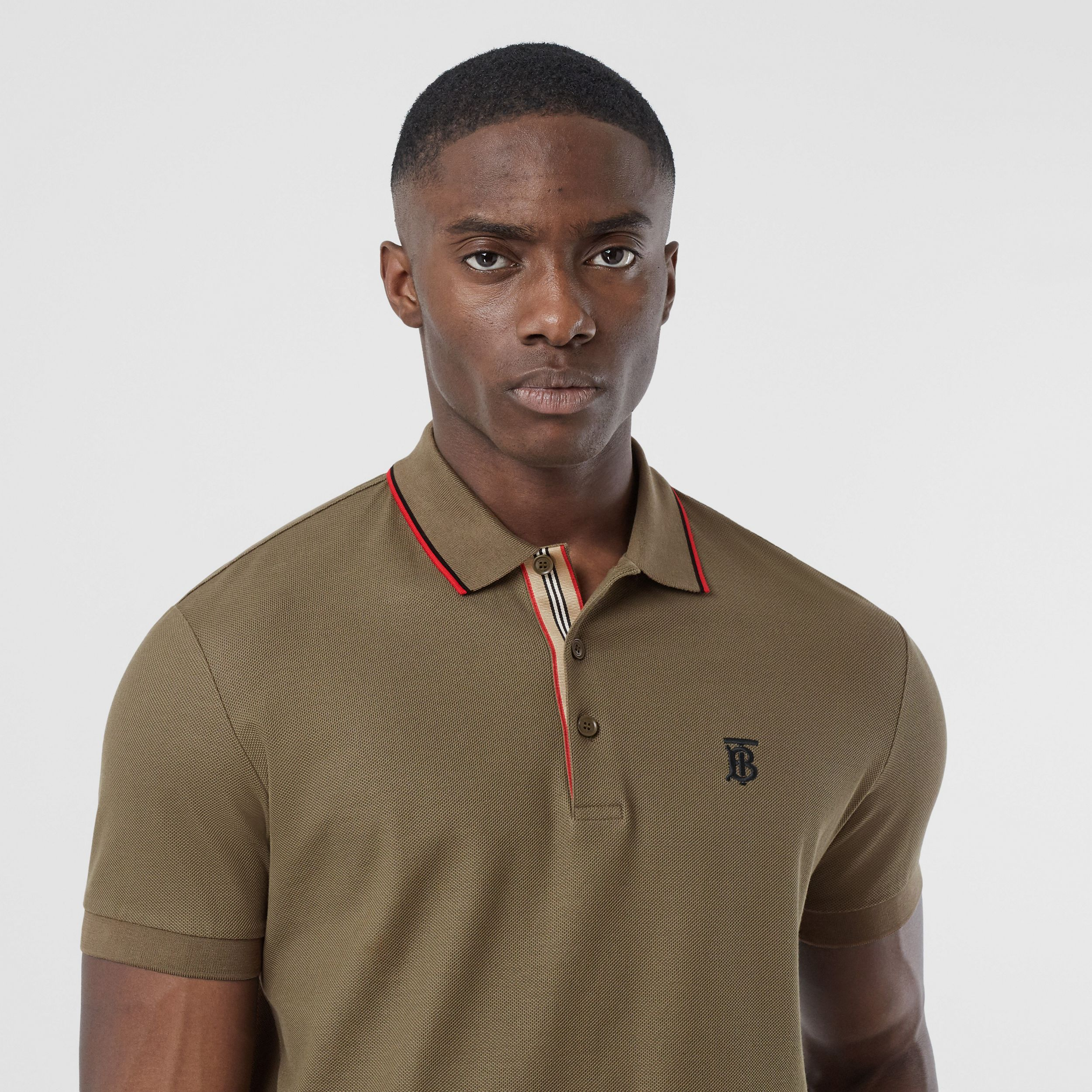 Monogram Motif Cotton Piqué Polo Shirt in Deep Khaki - Men | Burberry - 2