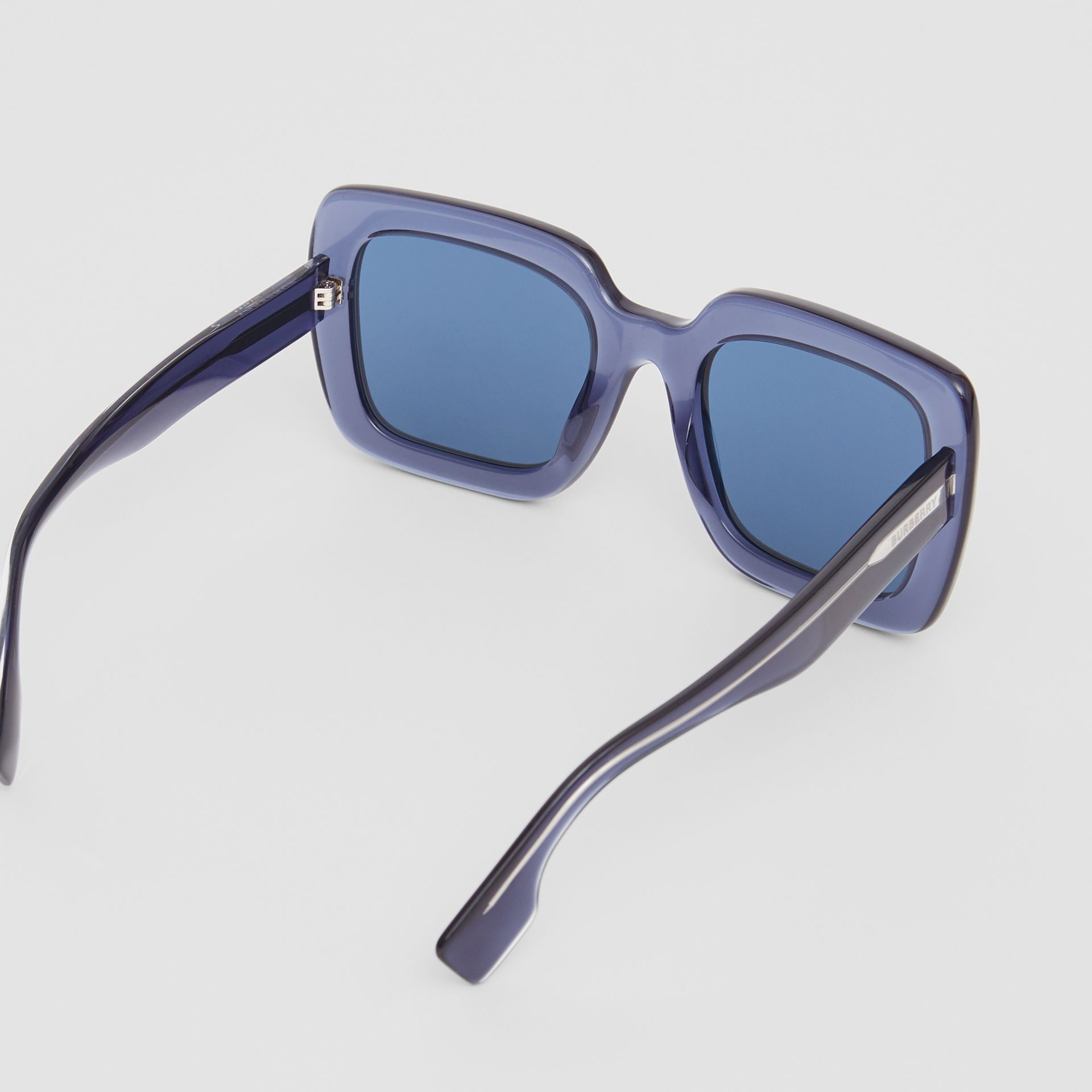 Oversized Square Frame Sunglasses in Blue - Women | Burberry United Kingdom - gallery image 3