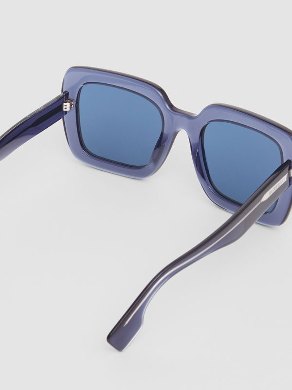 Oversized Square Frame Sunglasses in Blue - Women | Burberry United Kingdom - cell image 3