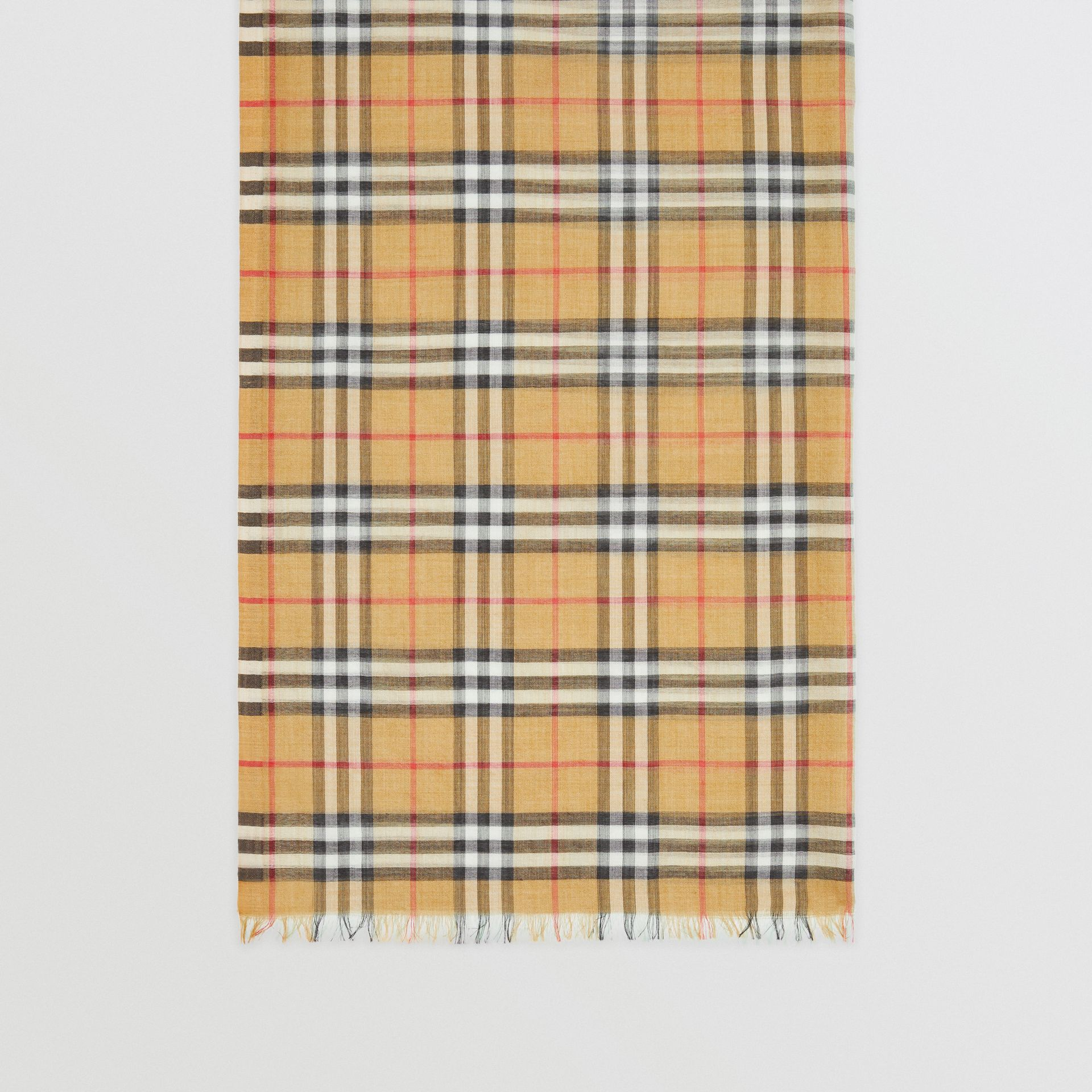 Vintage Check Colour Block Wool Silk Scarf in Light Mint | Burberry - gallery image 4