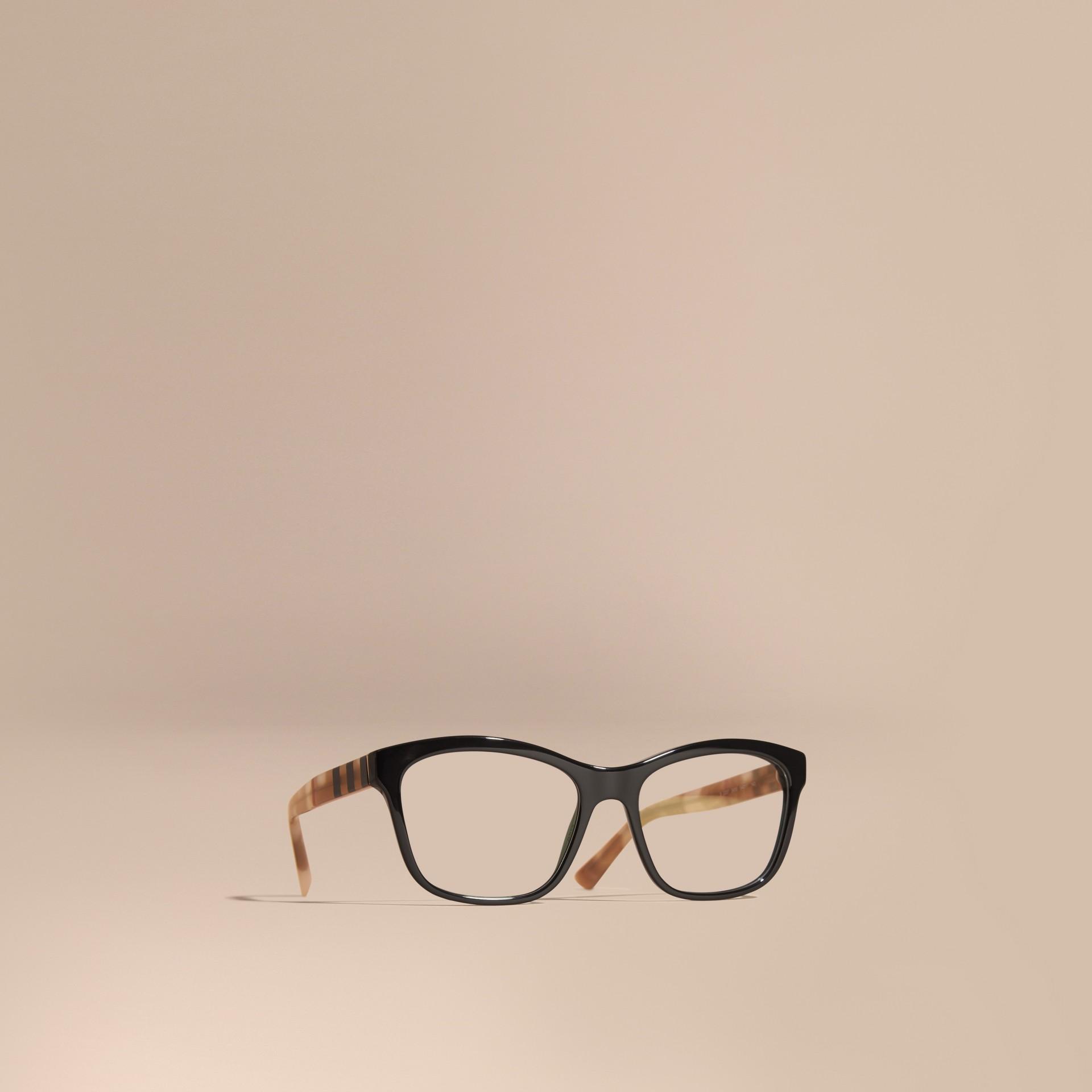 Black Check Detail Square Optical Frames Black - gallery image 1