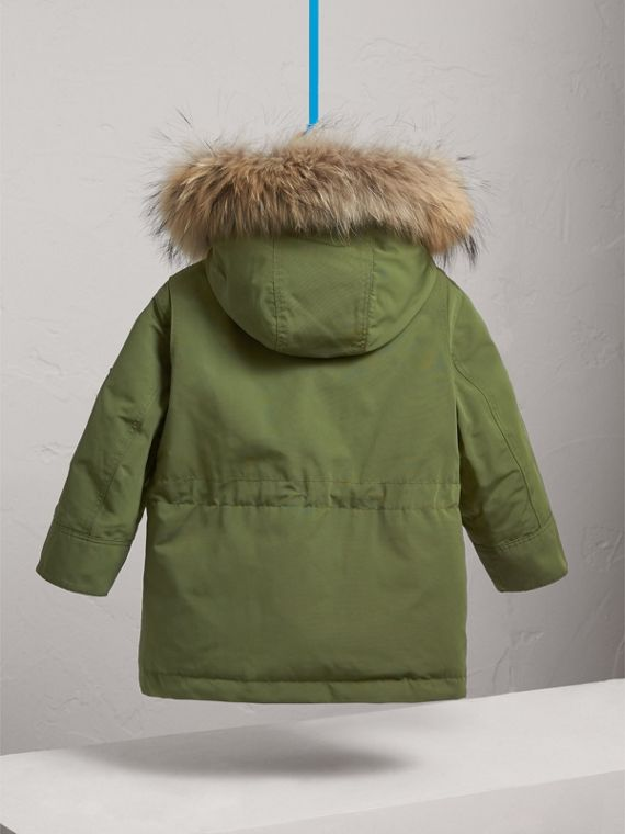 Fur-trimmed Down-filled Hooded Puffer Coat in Sage - Boy | Burberry United States - cell image 3