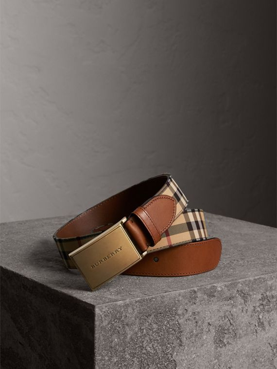 Horseferry Check and Leather Belt in Tan