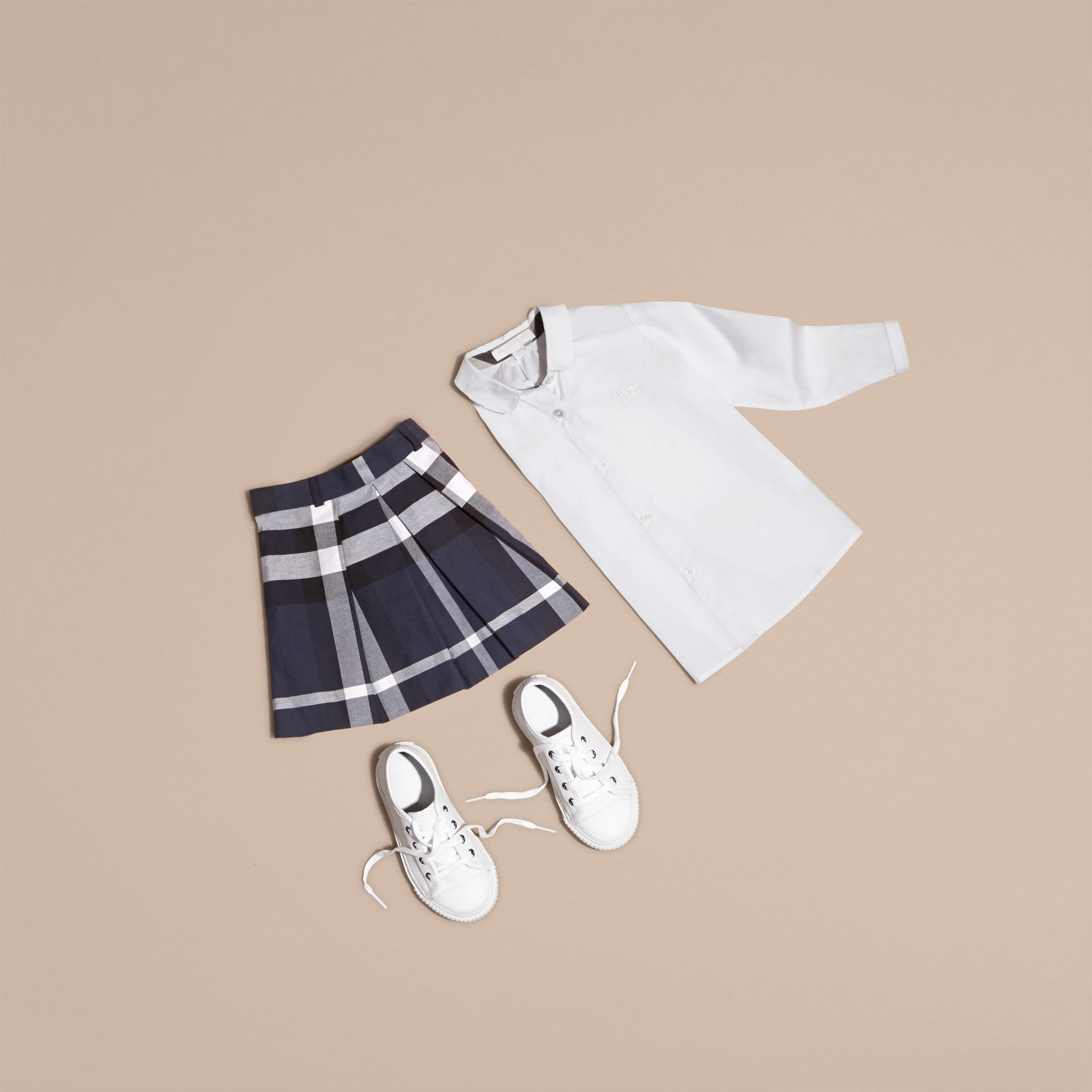 Pleated Check Cotton Skirt - Girl | Burberry - gallery image 5