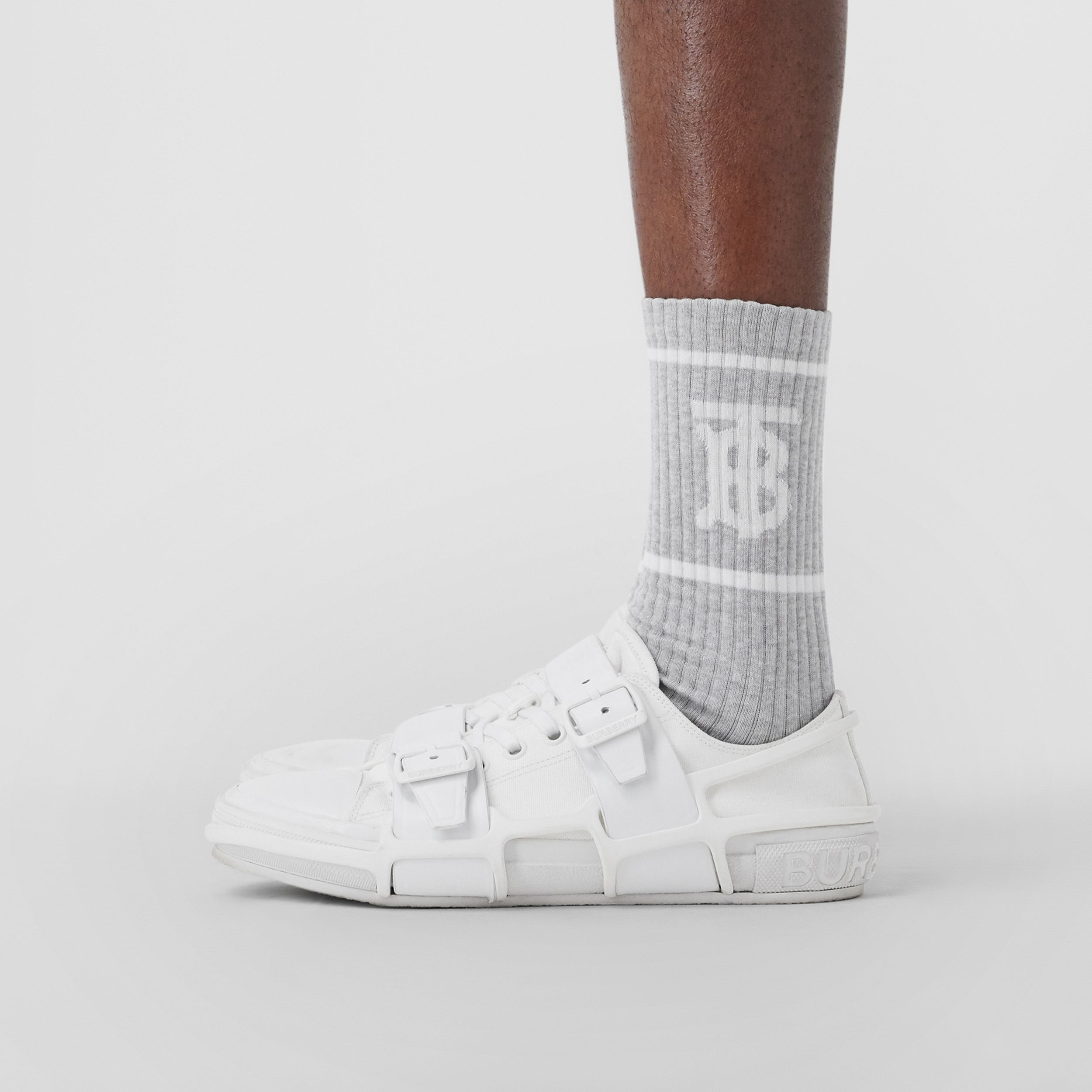Monogram Motif Intarsia Socks in Pebble Grey | Burberry Singapore - 4