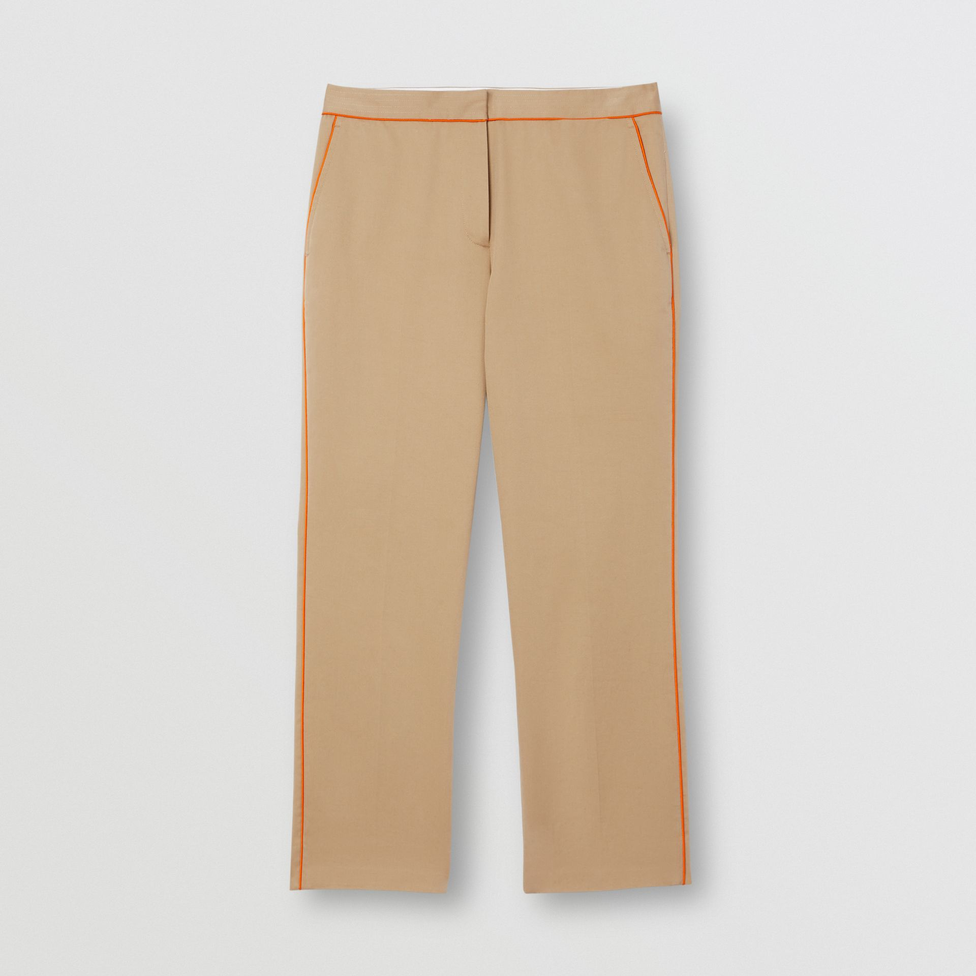 Silk Trim Cropped Cotton Chinos in Honey - Women | Burberry - gallery image 3