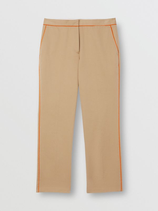 Silk Trim Cropped Cotton Chinos in Honey - Women | Burberry - cell image 3