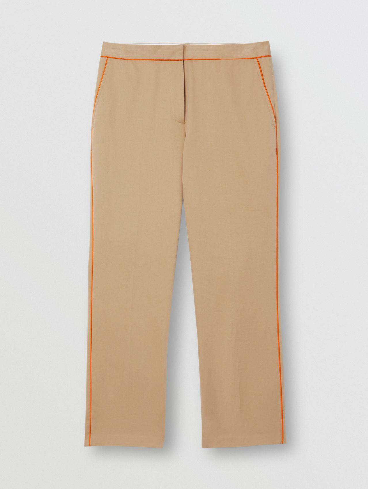Silk Trim Cropped Cotton Chinos in Honey