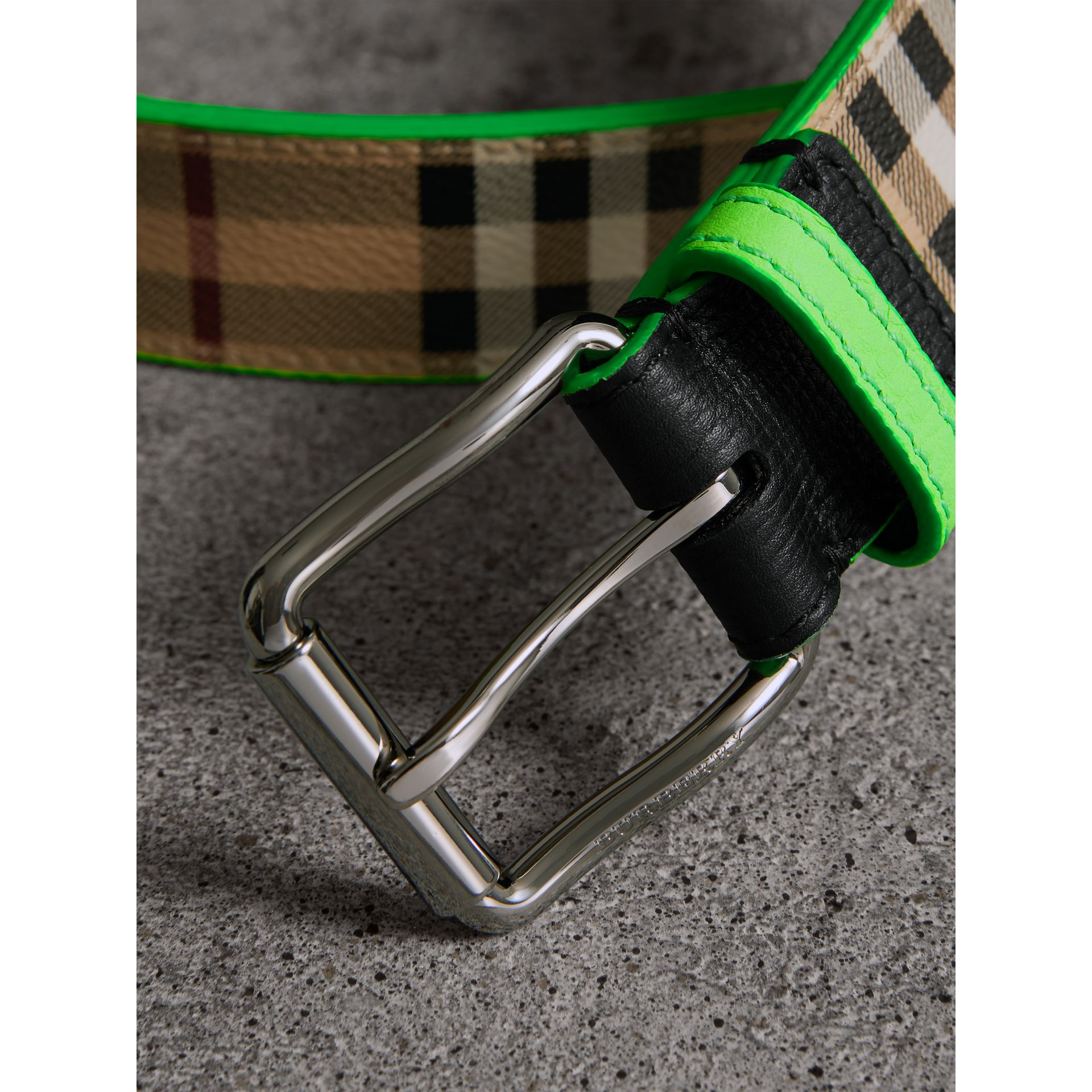 Haymarket Check and Leather Belt in Neon Green - Men | Burberry - gallery image 1