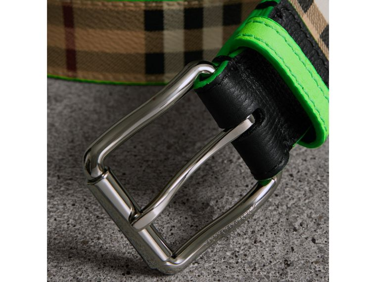 Haymarket Check and Leather Belt in Neon Green - Men | Burberry - cell image 1