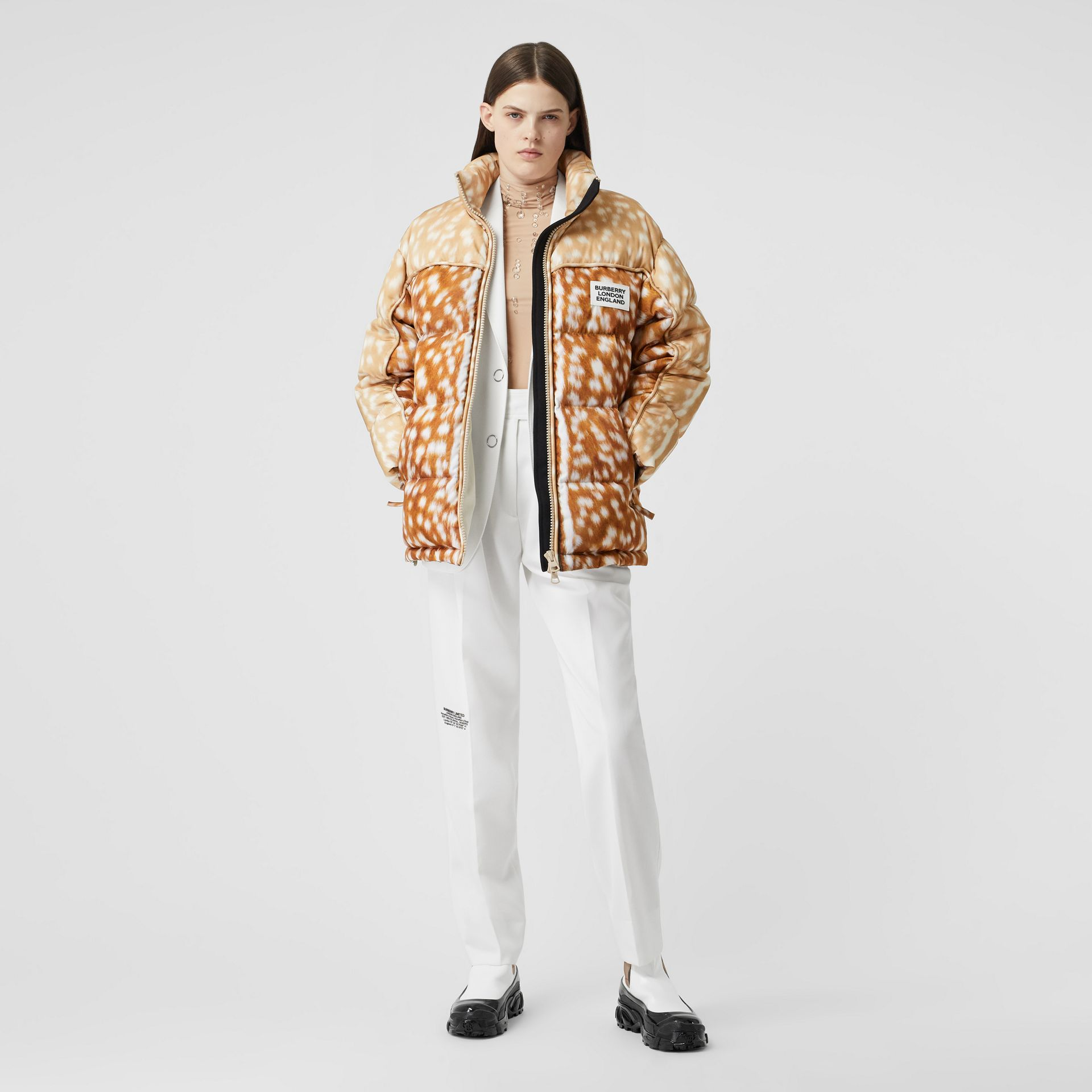 Deer Print ECONYL® Puffer Jacket in Honey - Women | Burberry - gallery image 0