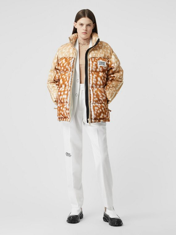 Deer Print ECONYL® Puffer Jacket in Honey