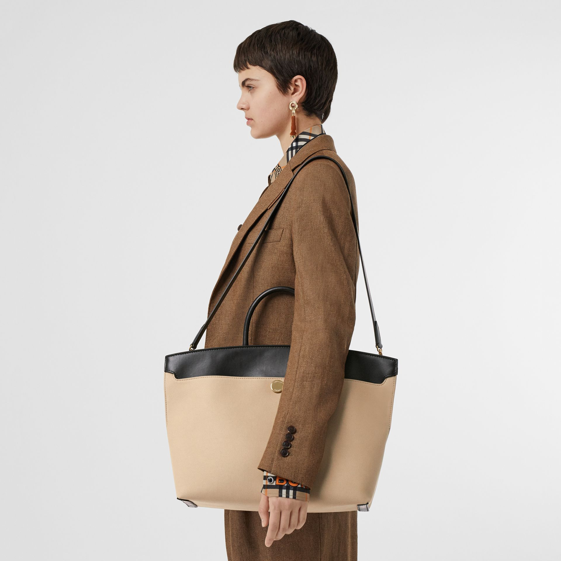 Cotton Canvas and Leather Society Top Handle Bag in Black/honey - Women | Burberry - gallery image 2