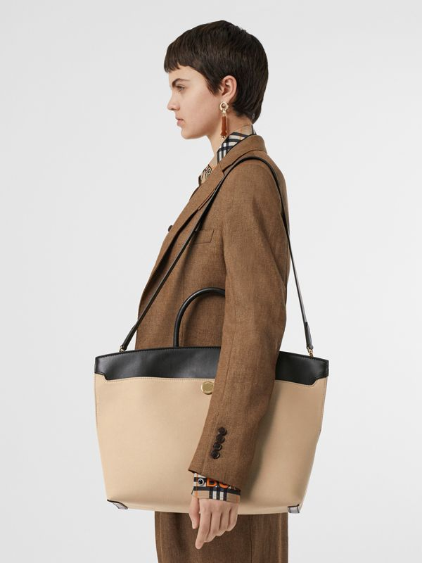 Cotton Canvas and Leather Society Top Handle Bag in Black/honey - Women | Burberry Singapore - cell image 2