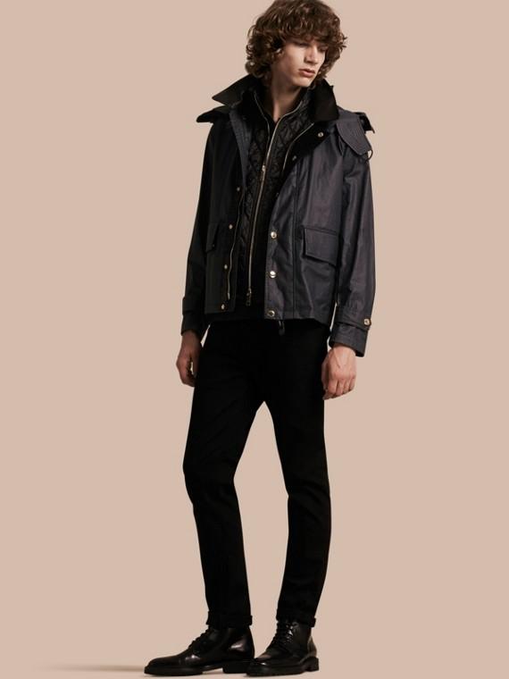 Jaqueta de linho e algodão encerado com warmer removível e capuz