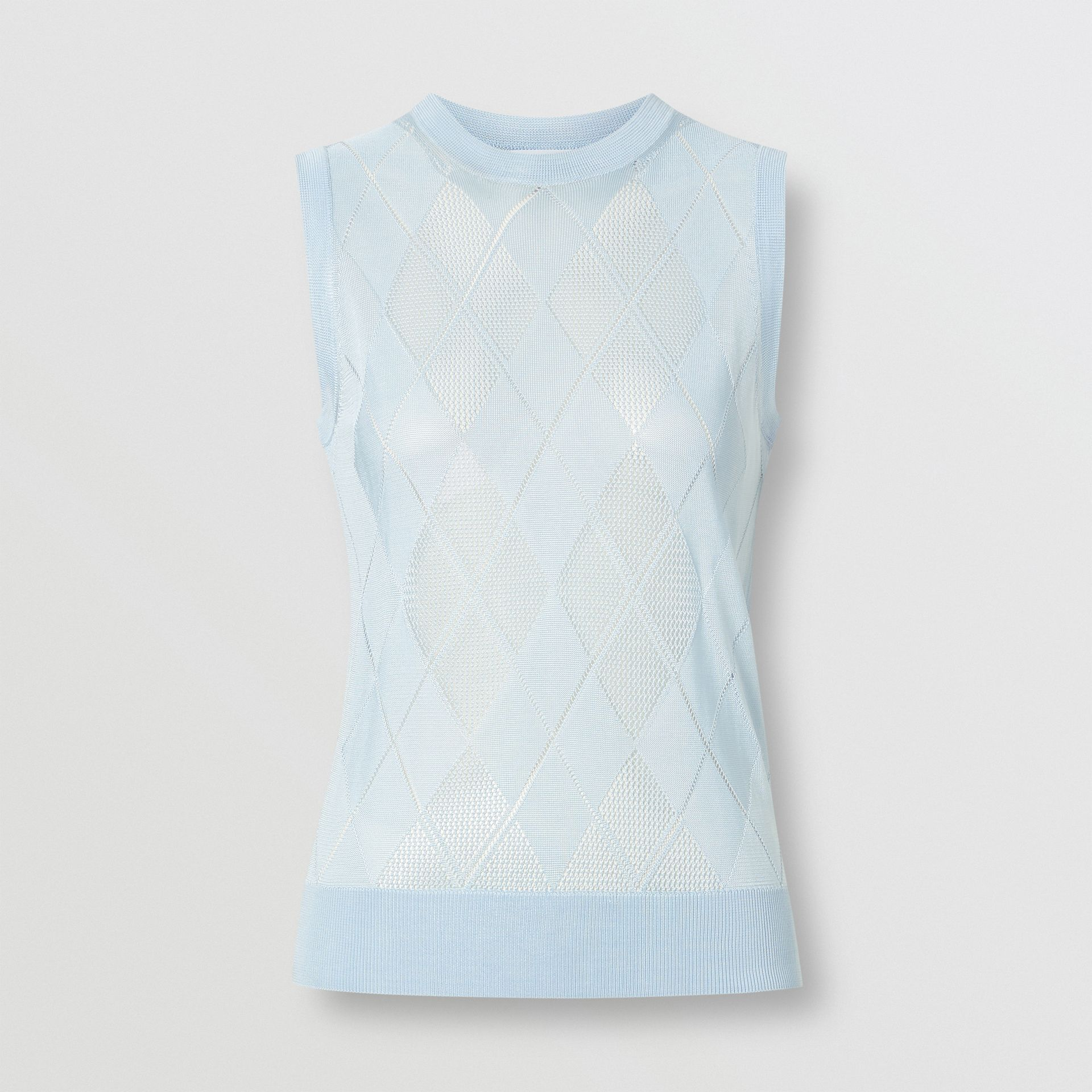 Monogram Motif Pointelle Knit Vest in Pale Blue - Women | Burberry United Kingdom - gallery image 3