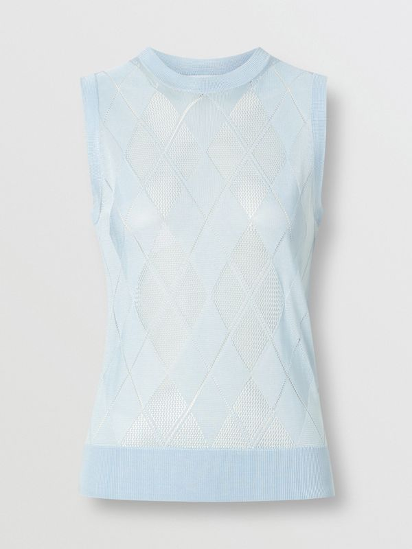 Monogram Motif Pointelle Knit Vest in Pale Blue - Women | Burberry United Kingdom - cell image 3