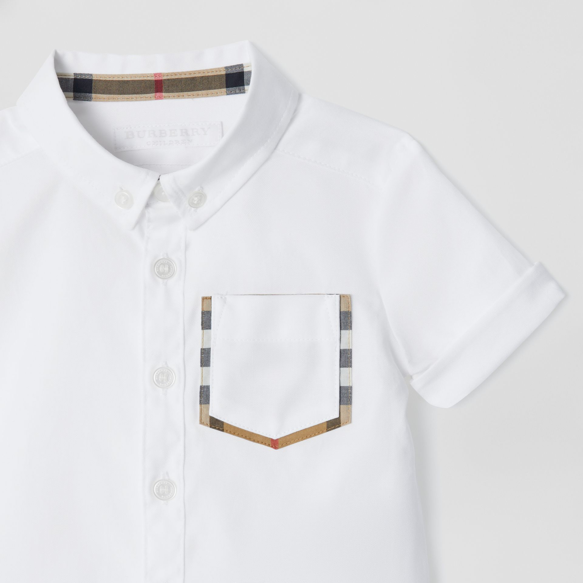 Short-sleeve Check Detail Cotton Oxford Shirt in White - Children | Burberry - gallery image 4