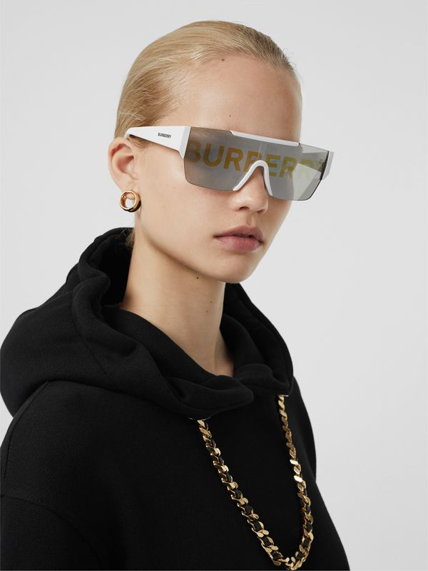 Logo Lens D-frame Sunglasses in White | Burberry - cell image 2