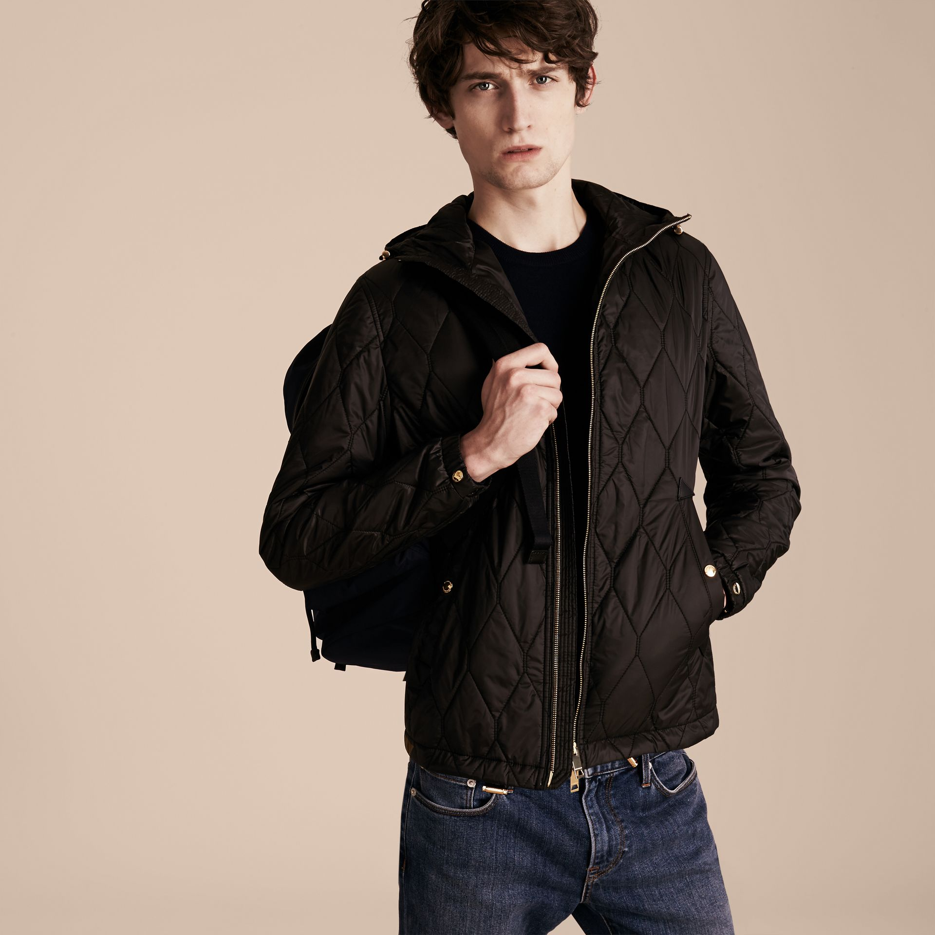 Black Hooded Lightweight Quilted Jacket - gallery image 6