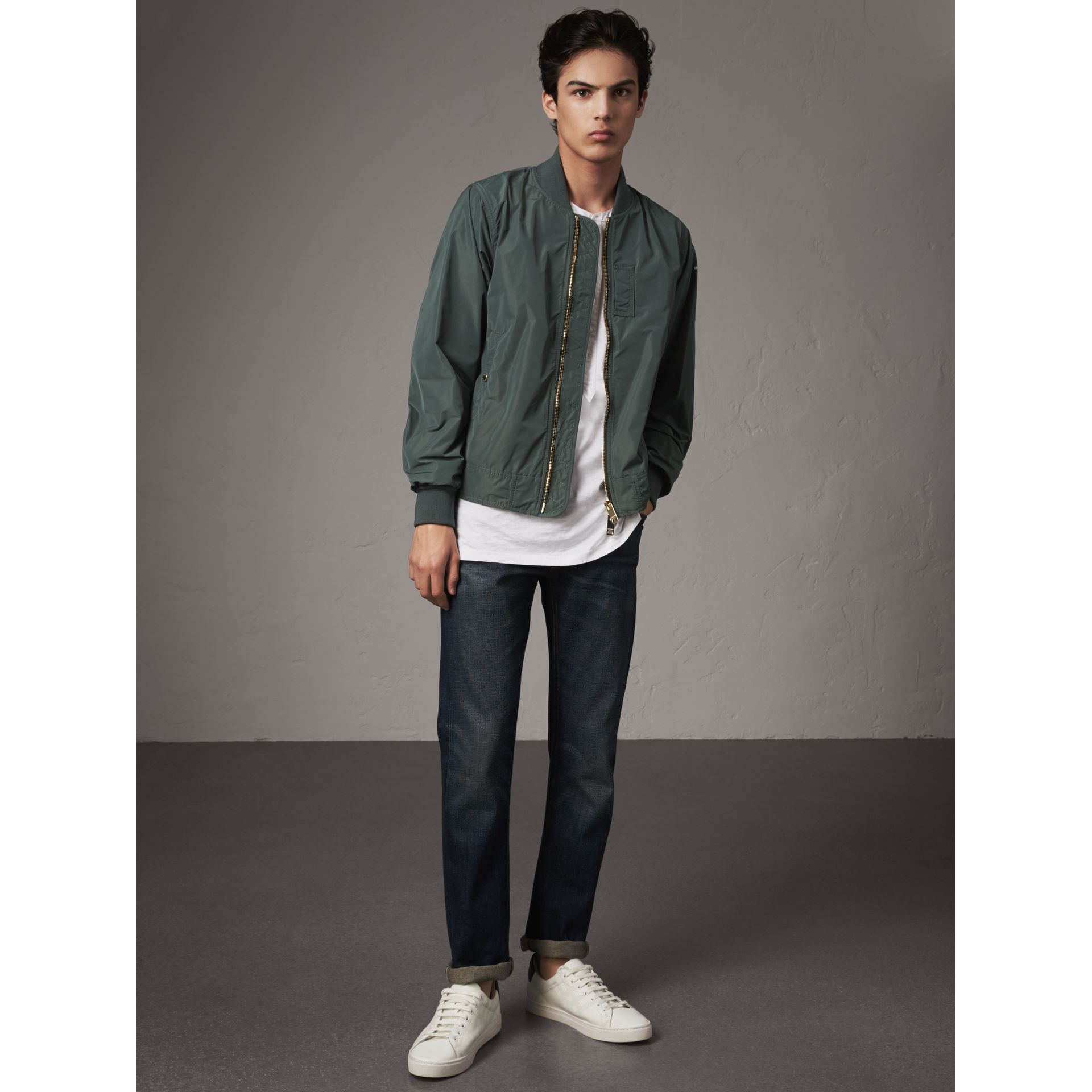 Shape-memory Taffeta Bomber Jacket in Smokey Green - Men | Burberry - gallery image 5