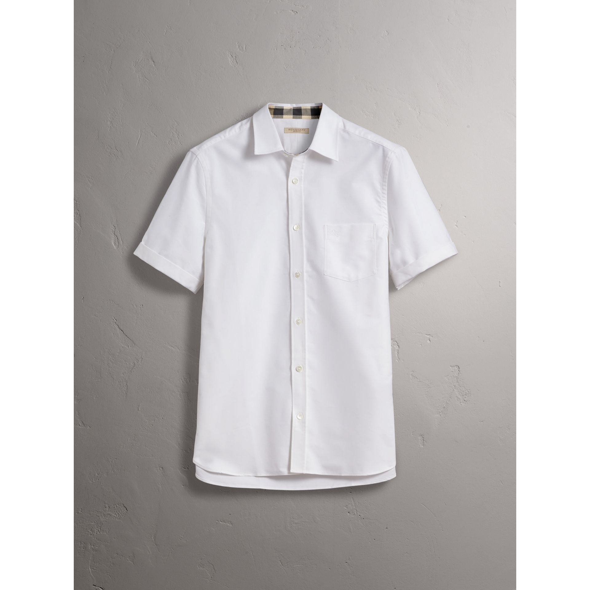 Check Detail Short-Sleeved Cotton Oxford Shirt in White - Men | Burberry - gallery image 3