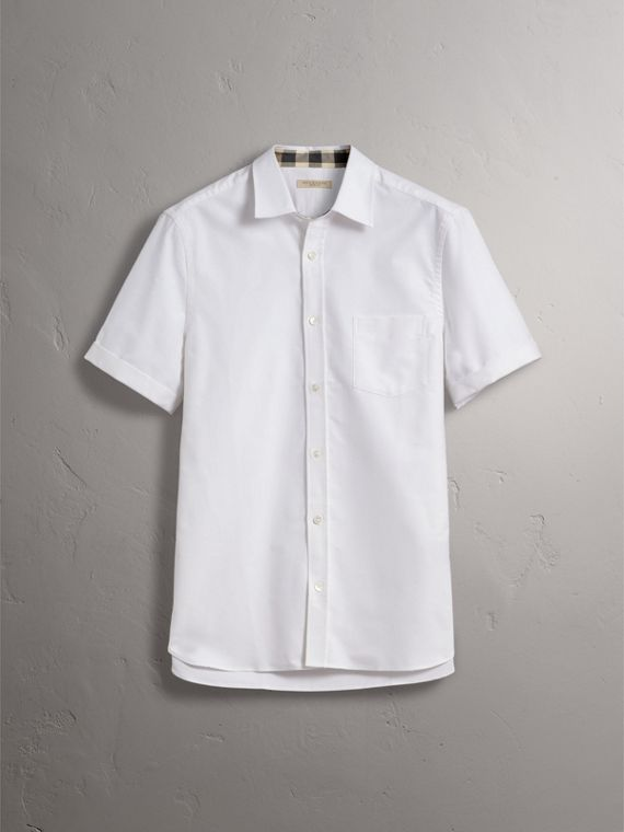 Check Detail Short-Sleeved Cotton Oxford Shirt in White - Men | Burberry - cell image 3
