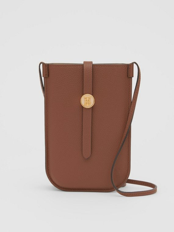 Leather Phone Case with Strap in Tan