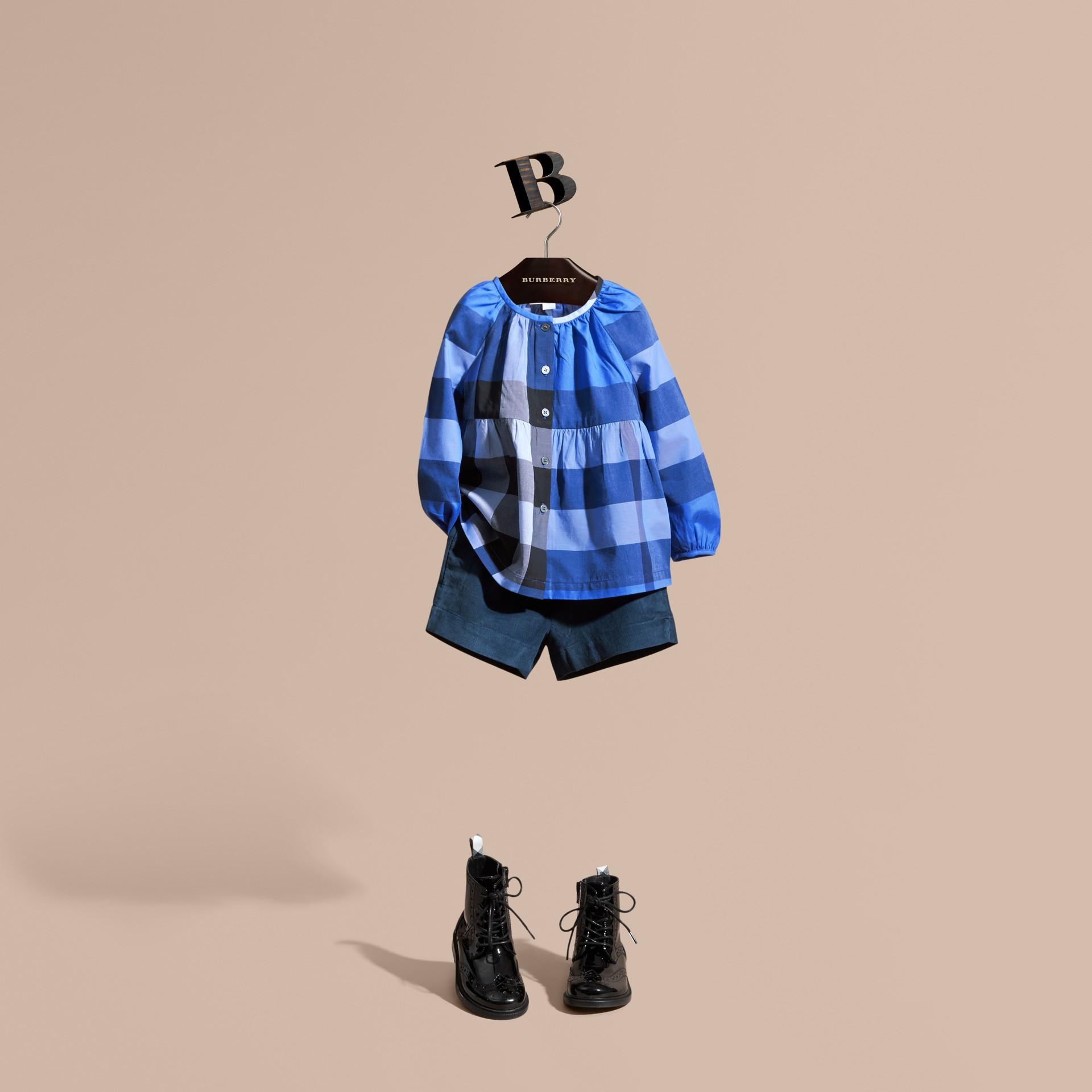 Bright hydrangea blue Puff Sleeve Check Cotton Blouse Bright Hydrangea Blue - gallery image 1